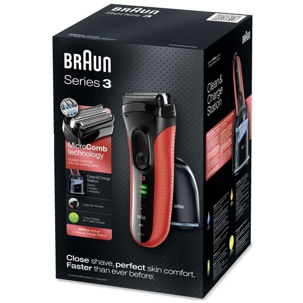Braun Series 3-3050cc Clean&Charge holiaci strojček ČERVENÝ