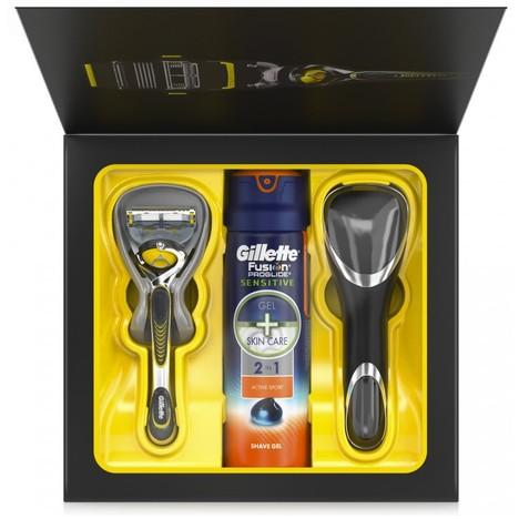 Gillette Fusion ProShield holiaci strojček + gél na holenie Gillette Fusion 170 ml