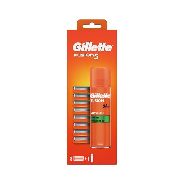 Gillette Fusion Manual náhradné hlavice 8 ks + gél na holenie 200 ml